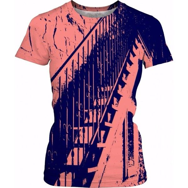 Pink and Blue Stair Steps Women's T-Shirt ❤ liked on Polyvore featuring tops, t-shirts, multi color t shirts, pink top, colorful t shirts, pink t shirt and pink tee