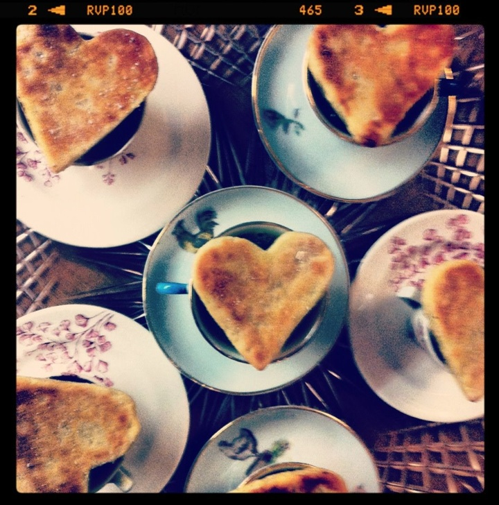 Pea & ham soup with homemade scotch pancake hearts - these were served as an amuse bouche at our Great British Pantry Supper Club :)