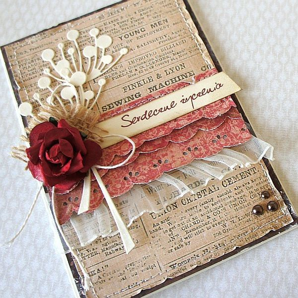 aged newsprint panel with roughed edges; memory box chloe x 2 behind burlap foundation flower; multiple layers of ruffles - sheer ruffle softens card; sentiments strip; sprinkles in corner; card 1 by rudlis, via Flickr