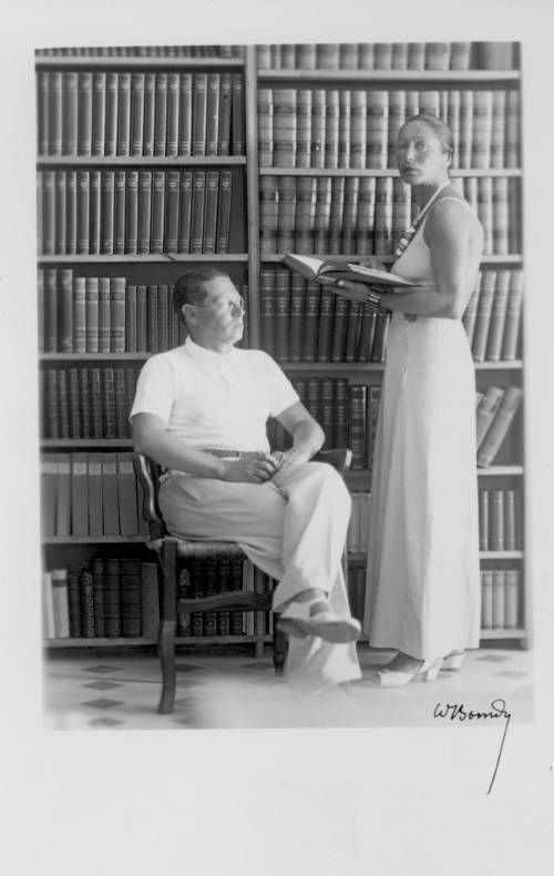 Lion Feuchtwanger and wife Marta in Sanary Library, 1935. http://digitallibrary.usc.edu/cdm/ref/collection/p15799coll35/id/0