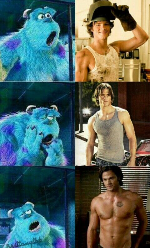 Jared Padalecki/Sam Winchester @lilmelo  here's you a man. The monsters inc guy is me watching Supernatural lol