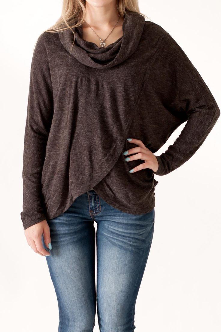 Charcoal long sleeve cowl neck top with overlapping front.    Cowl Neck Top by She & Sky. Clothing - Tops - Long Sleeve Philadelphia, Pennsylvania