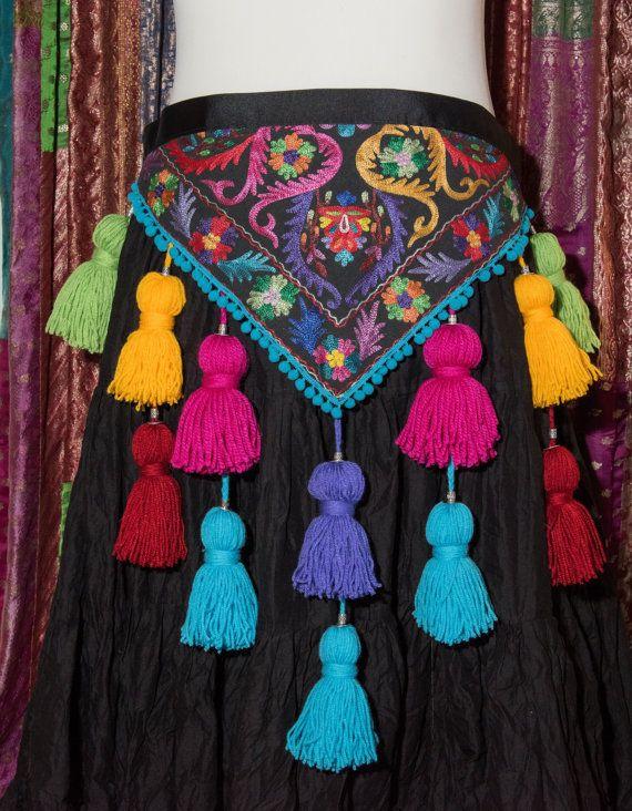 Tribal Tassel Belt in multicolours