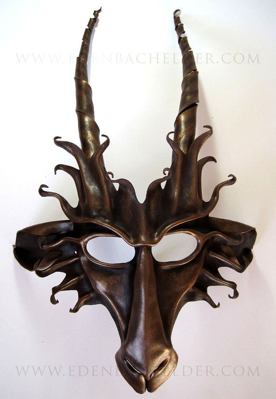 Goat leather mask, brown and bronze, Pan, faun, Baphomet, Capricorn. $189.00, via Etsy.