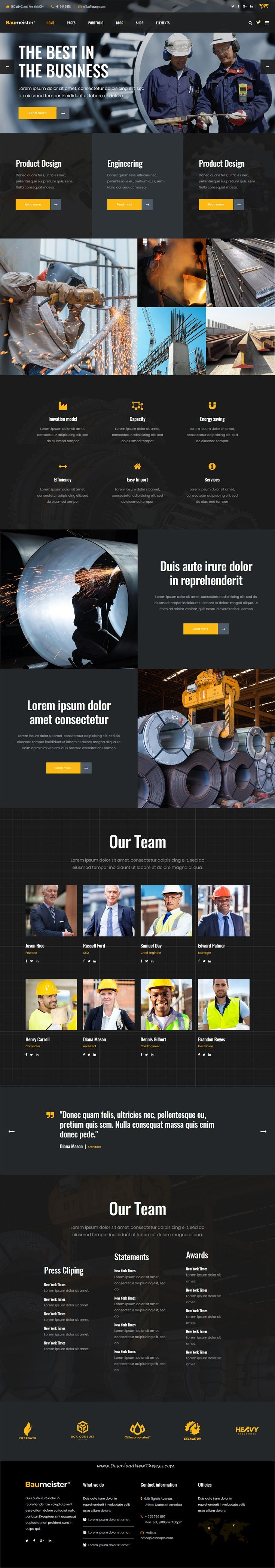 Baumeister is clean, powerful and modern design responsive #WordPresstheme for energy, #industry and #manufacturing shop company website with 9 niche homepage layouts to live preview & download click on Visit