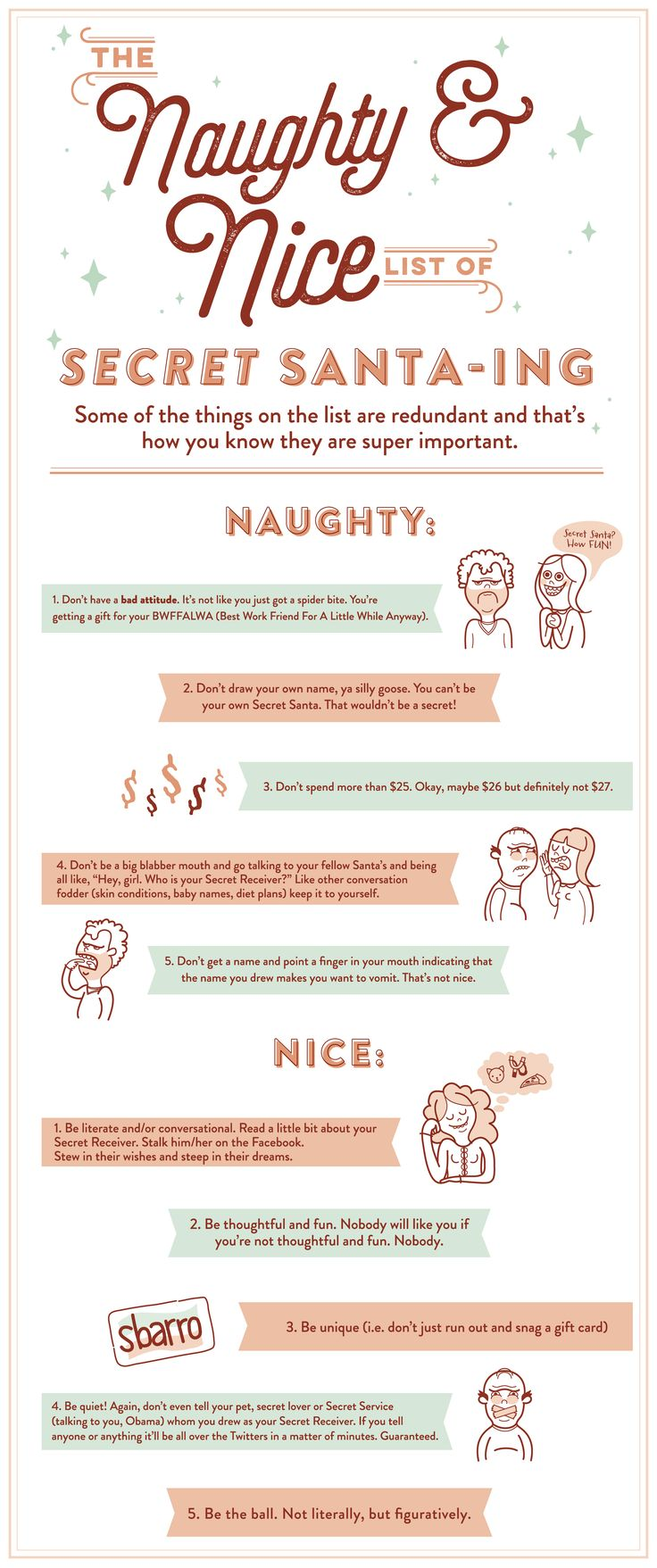 The Naughty and Nice List of Secret Santa-ing. Rules by Eric Forseth & ilustrations by Johna Reuvers