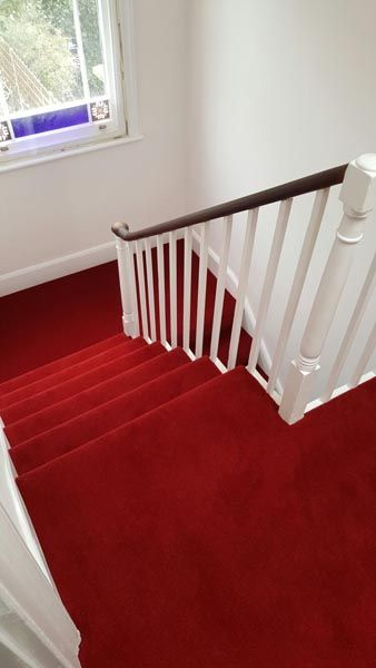 Client: Private Residence In East London Brief: To supply & install red carpet to stairs