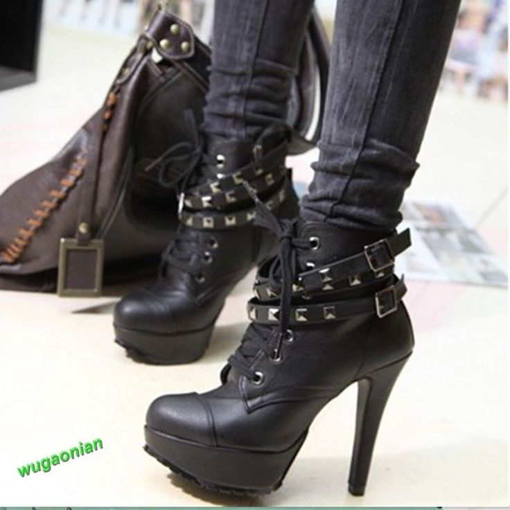 Punk New Women's Studded High Heels Platform Lace Up Ankle Boots Shoes Hot Sale | eBay