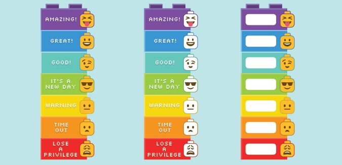 A simple behaviour chart that uses emoji Lego heads. Also includes Lego-style character cards that children can use to move up and down the chart.