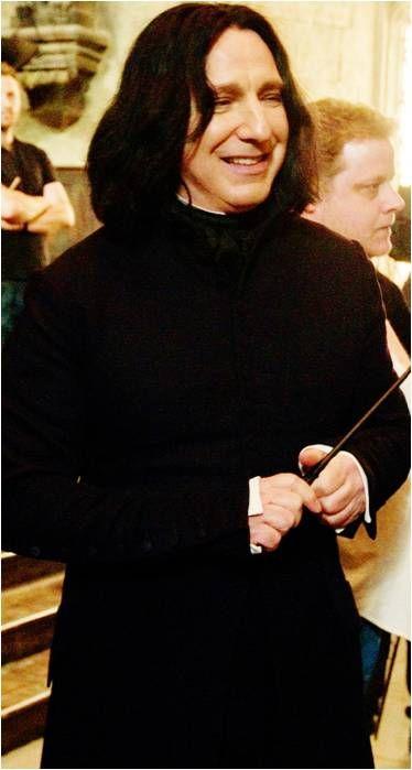 Alan Rickman as Professor Severus Snape -- -- between scenes.