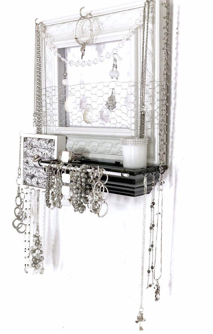 Wall mounted jewelry organizer and display - I'm very happy ... -  Wall mounted jewelry organizer and display – I'm very happy to share this article from mine  - #Display #fashionjewelrydiy #happy #I39m #jewelry #jewelryideasdiy #jewelryorganizerdiy #mounted #organizer #Wall