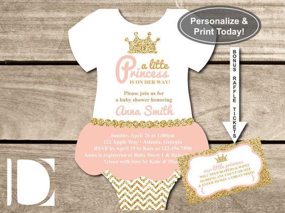 Little Princess Baby Shower Onesie Invitation in Pink and Gold Glitter, Instant Download, BONUS Diaper Raffle Tickets by DeReimer DeSign for $8.95