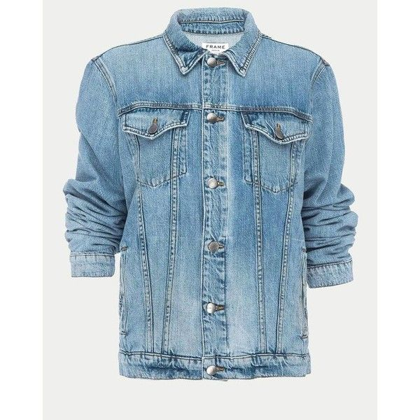 FRAME Le Jacket Oversized ($375) ❤ liked on Polyvore featuring outerwear, jackets, canyon cove, denim, long blue jacket, tall denim jacket, oversized jacket, long jacket and long denim jacket