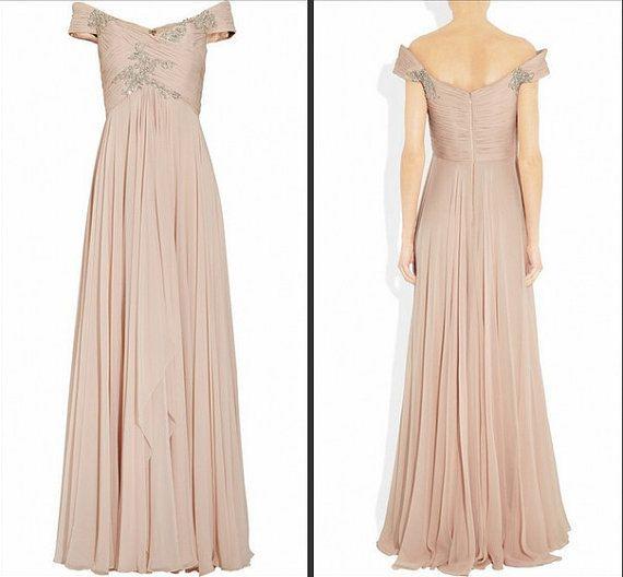 Long Nude Color Prom Dressbeaded Bridesmaid Dresspeach Red Grey Chiffon Evening Dress -8211