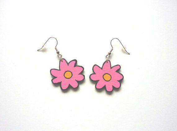 Flower Earrings | Wooden Earrings | Pink Flowers | Daisyxjewels