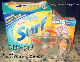 Sofa cleaner- 1/4cup baking soda, 1/8 cup powder detergent. Mix together, sprinkle on fabric, let sit 1 hour, then vacuum up.