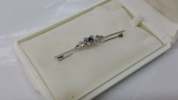Brosche Silber 925 Saphir blau und Kristalle SB164 von Schmuckbaron