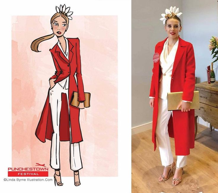 Linda Byrne Illustration. Fashion drawing. Fashion Illustration. Fashion sketching. Ladies day illustration. At the races in Ireland. Ladies day Punchestown. www.lindabyrneillustration.com