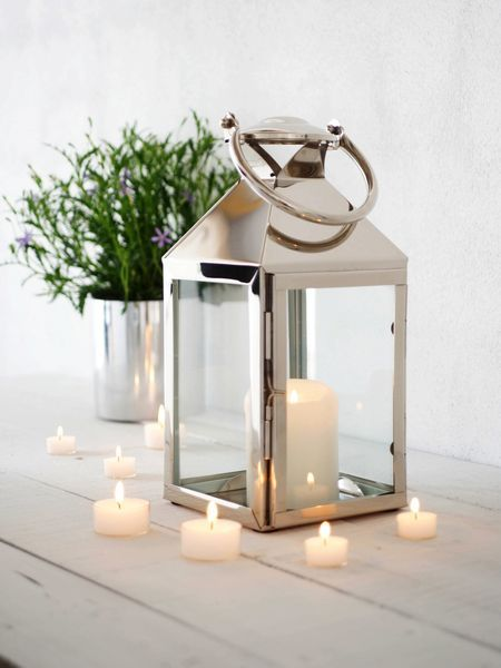 silver lanterns and white candles