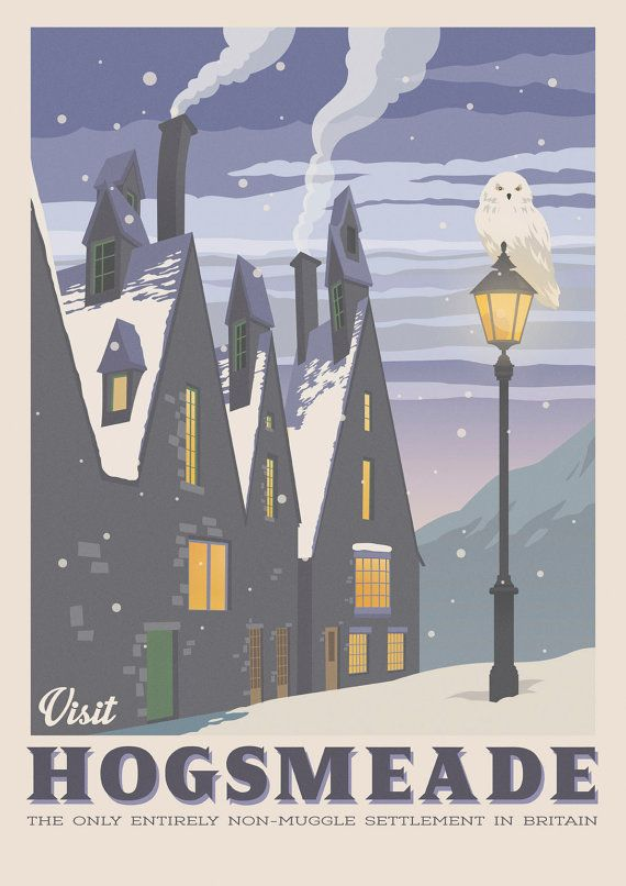 Hogsmeade village. Retro travel poster. Harry von TheSeventhArtShop