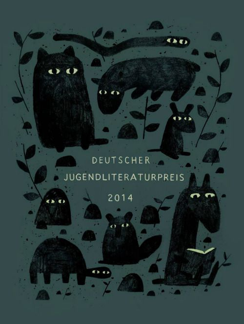 "jonklassen:  Here's a poster I did for the German Literature Prize, which is being presented at the Frankfurt Book Festival this week. They gave the award to my book ""I Want My Hat Back"" last year."