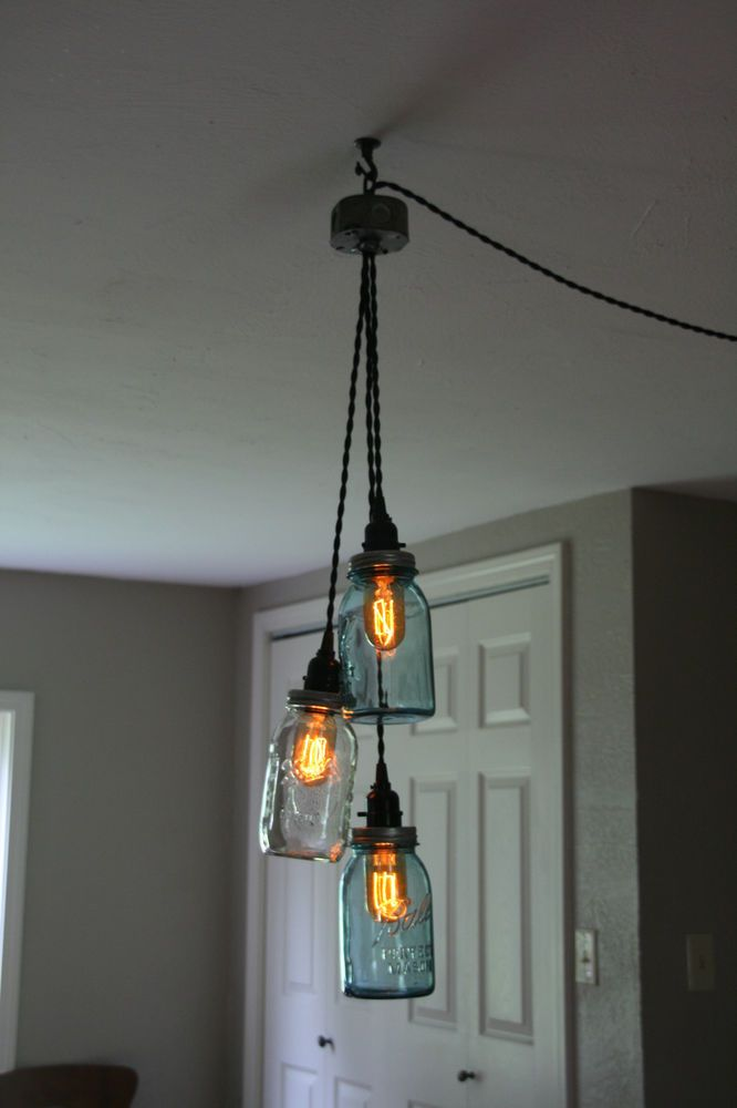 Diy 3 jar chandelier swag light mason jar hanging for Diy rustic pendant light