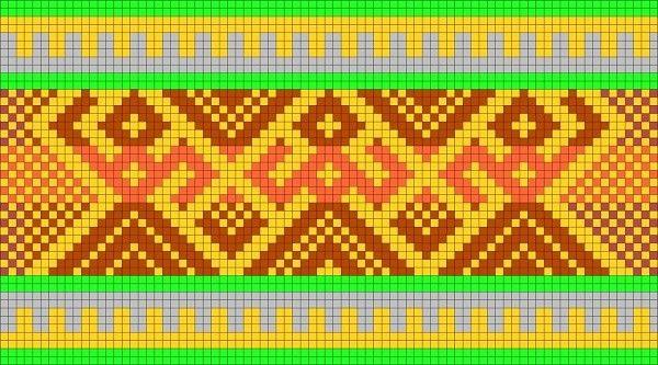 Узор с символами «Доля, Макошь, Недоля». Назначение: обращение к Богиням-Пряхам за Счастливой Долей. Можно использовать для пояса, тесьмы.  #творчество#ткачество