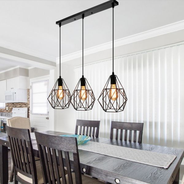 Vintage Style Faceted Cage Ceiling Fixture 3 Bulbs Metal Pendant Lighting With Linear Lights Over Dining Table Dinning Room Light Fixture Dining Table Lighting Lighting over kitchen tables