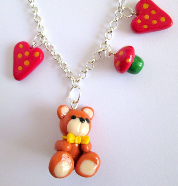 Teddy Bear necklace polymer clay pendant  Teddy di Fimocollections