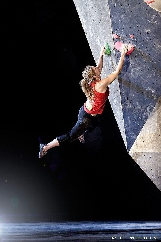 Awesome shot of Shauna Coxsey in action in Austria.