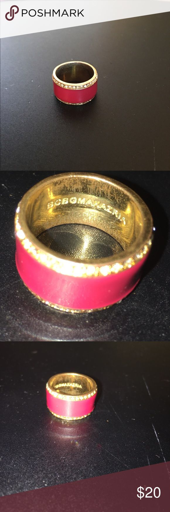 """BCBG Max Azria Pink Ring Pink ring fits size 6 to 7 finger. Brand inscription on inside of ring. Gold and """"diamond"""" piping on the outside. Worn lovingly. BCBGMaxAzria Jewelry Rings"""