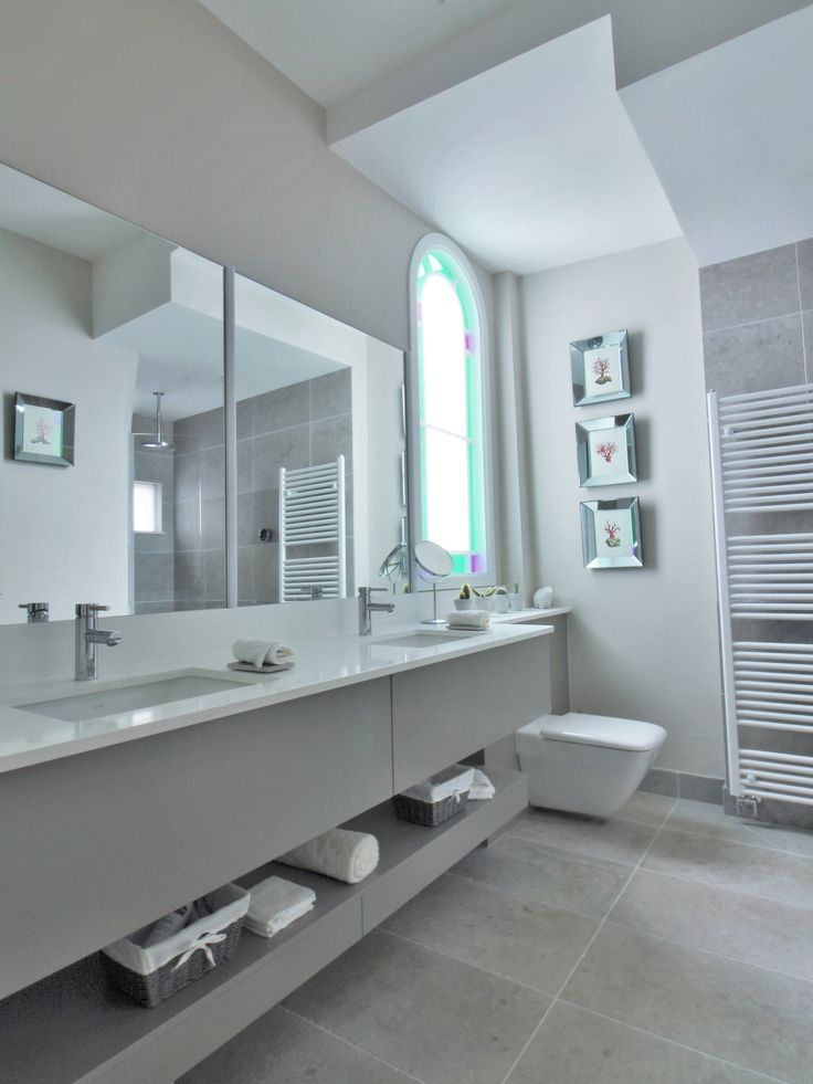 Family Bathroom Design By Sarah Ireland Designs Featuring A Double Sink