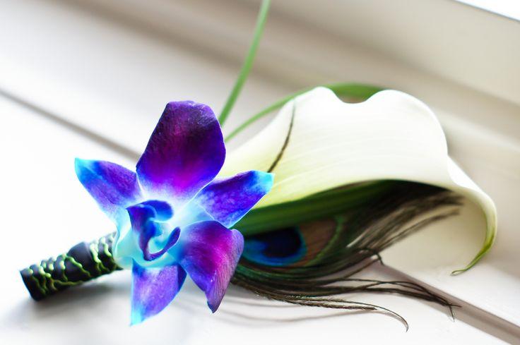 Blue Dendrobium Orchid Boutineer| Photo:   http://ashfallmixedmedia.com/