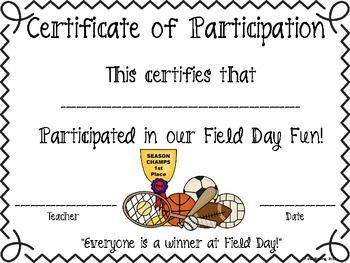 Field Day Certificate of Participation