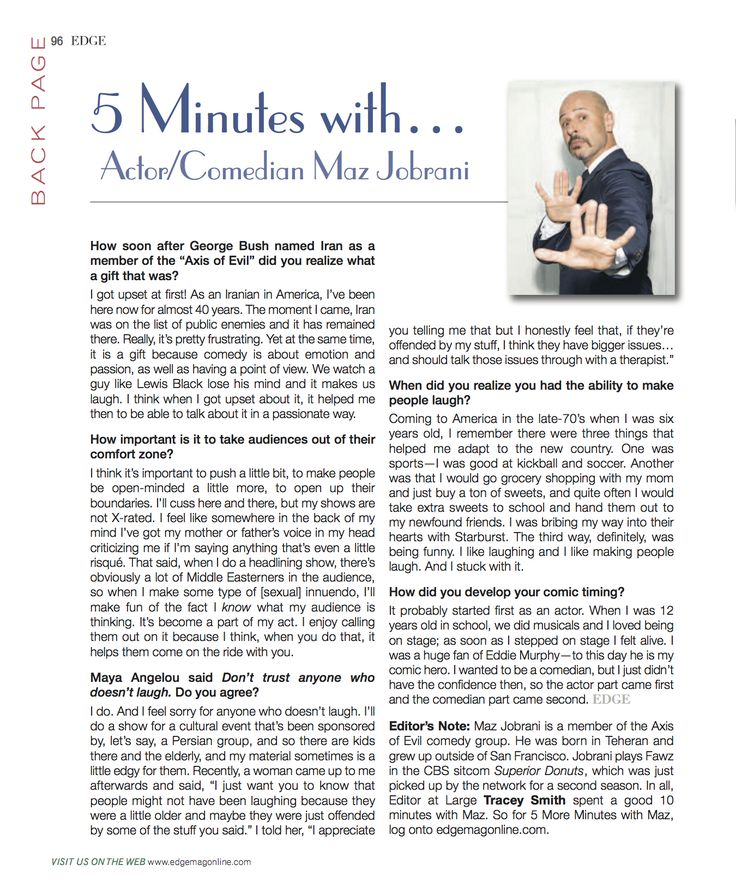 Maz Jobrani is feature in the Diversity Issue of EDGE Magazine.