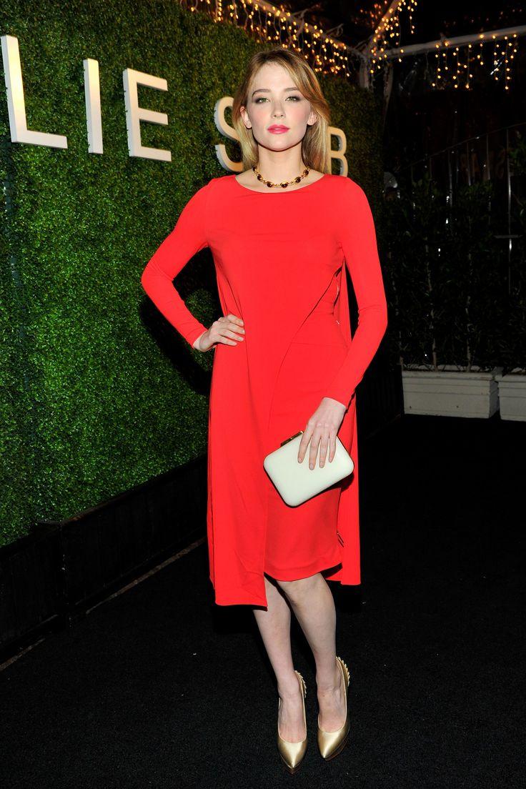 Hayley Bennett in Elie Saab. Red dress.   - HarpersBAZAAR.com