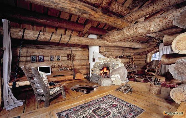 Интерьер бревенчатого дома внутри фото
