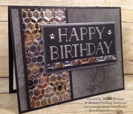 Stampin' Up! card featuring Hexagon Dynamic embossing folder by Luv  2 Stamp Group member Melissa Kerman