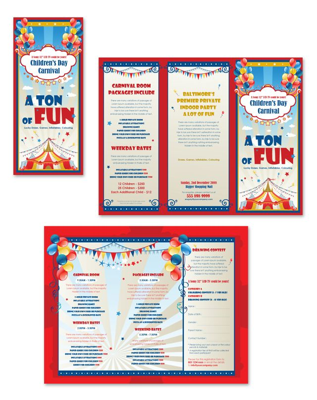Kids carnival day tri fold brochure template brochure for Travel brochure template for students