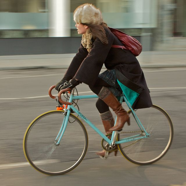 Love it, minus the fur hat.  London Cyclists by futureshape, via Flickr