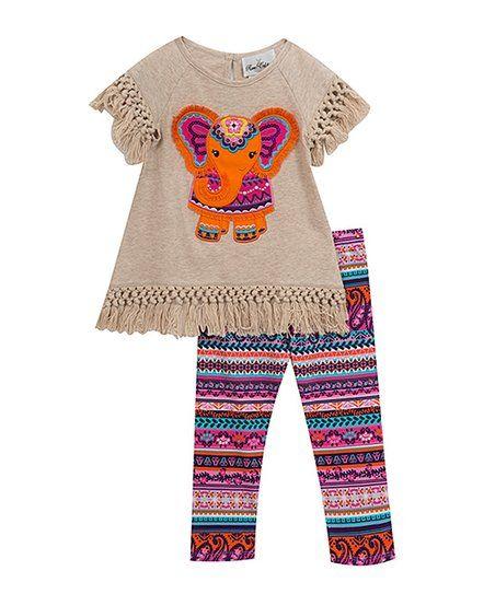 Rare Editions Oatmeal Elephant Fringe Tee & Purple Geometric Leggings - Girls   zulily