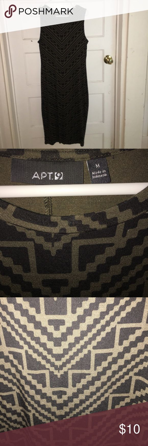 Apt 9 Aztec Body Con Dress M Army green and black Apt 9 Body Con Dress size Medium. Like new, so cute!  Dress it up or down. Apt.9 Dresses