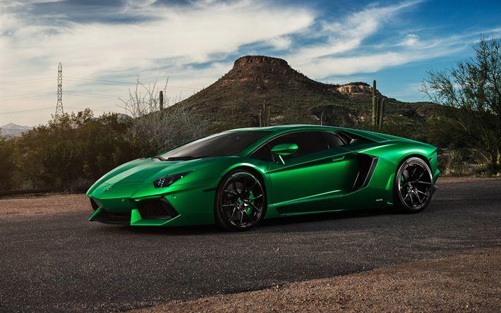 Descargar fondos de pantalla Lamborghini Aventador, 2017, LP700-4, verde Aventador, deportes, coches, Lamborghini, coches deportivos italianos