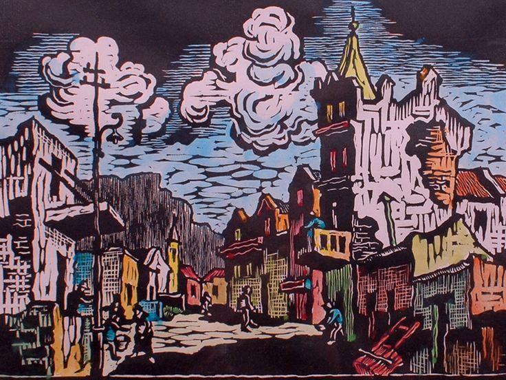 Gregoire Boonzaier (SA 1909 - 2005) Watercolour & Linocut, District Six