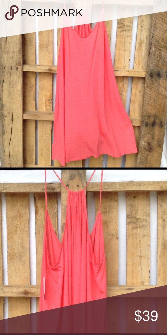 "LOFT Beach racerback coral dress So easy to throw over a swimsuit or workout clothes! Or wear with one of those cute bralettes to run errands! Neon coral. 55/45 linen/rayon blend. 37"" ↕️, 23"" ↔️ bust LOFT Dresses"