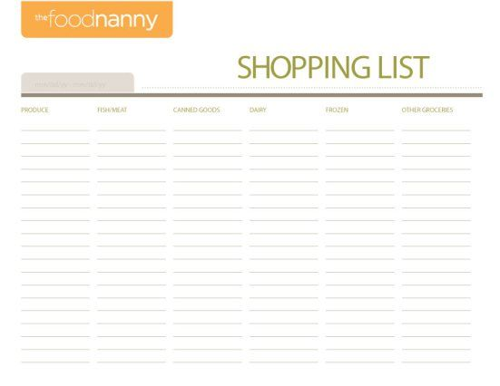 Food Nanny Shopping List, use with the nanny plan to organize your shopping! thefoodnanny.com