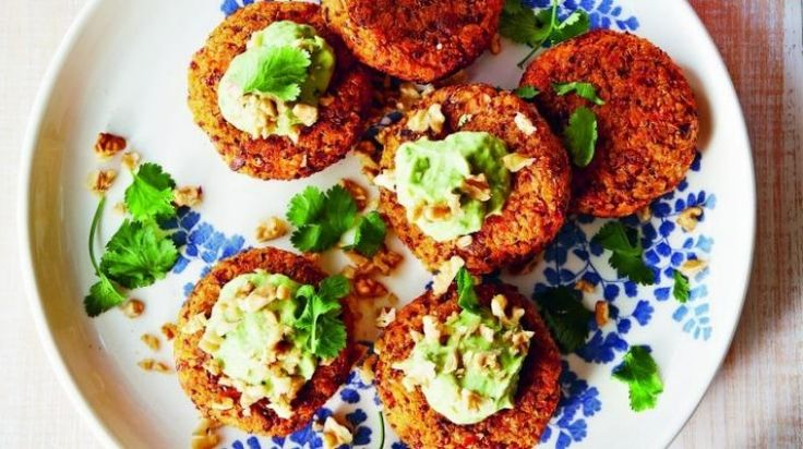 Lola Berry's sweet potato and quinoa patties with green tahini and lime dressing recipe