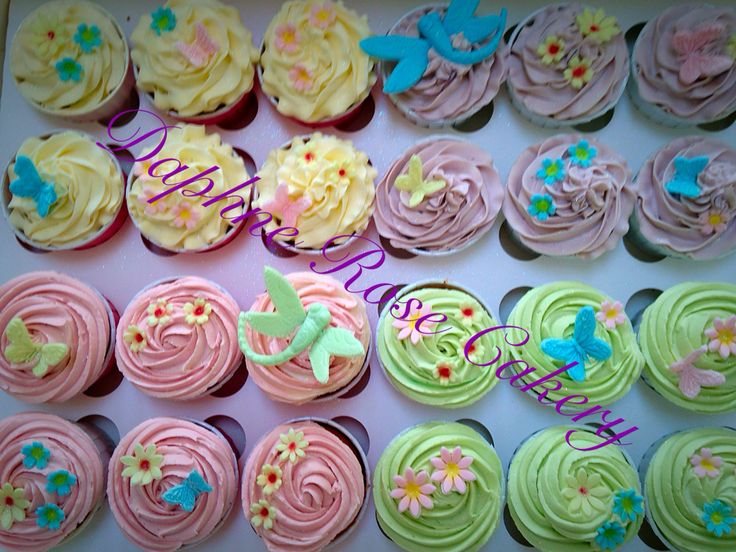 #birthdaygirl #cupcakes #pastel #flowers #dragonfly #butterfly #birthday email enquiries drcakery@gmail.com