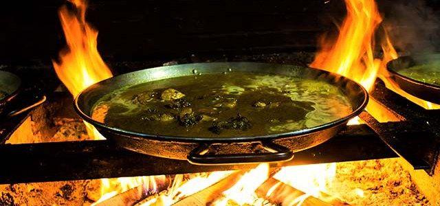 Paella over fire at Casa Carmela
