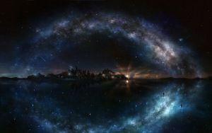 Просмотреть обои ночь, звездное небо, блеск, вода, остров, скалы, галактика